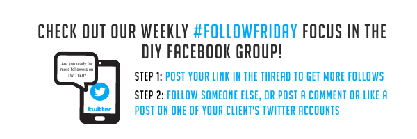 Check out our weekly #FollowFriday focus in the DIY Facebook group!