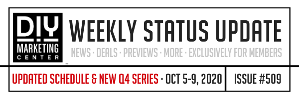 DIY Weekly Status Update � October 5-9, 2020 � #509