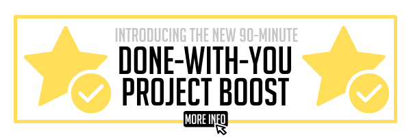 Introducing the new Done-with-You Project Boost Super Affordable 90-Minute Session