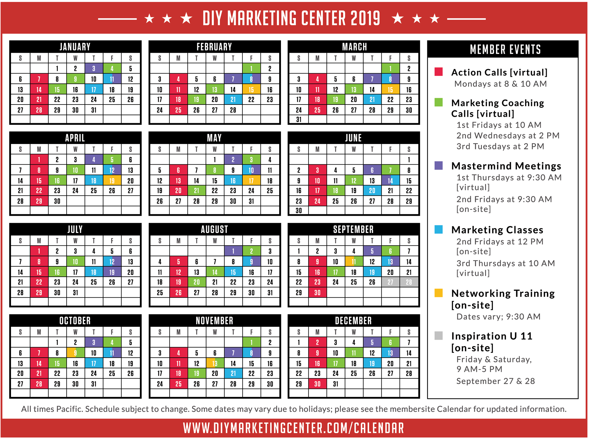 2019 Member Schedule of Events